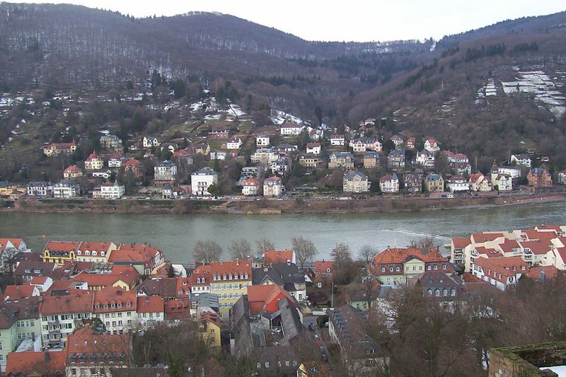 Veiw from castle rampart overlooking old town Heidelberg and the Neckar river.