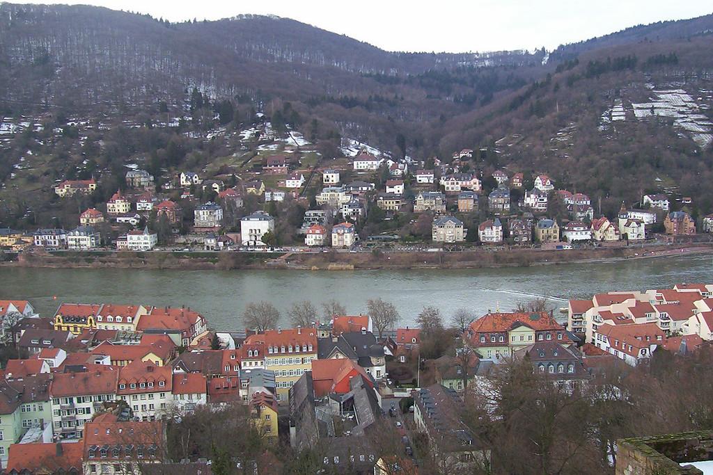 Veiw from castle rampart overlooking old town Heidelberg and the Neckar river.