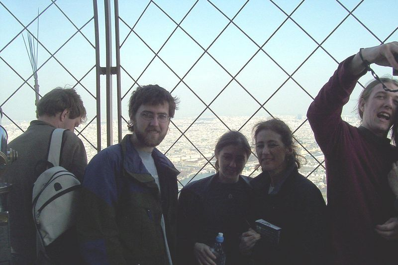 A thousand feet over Paris, top of the Eifel Tower.