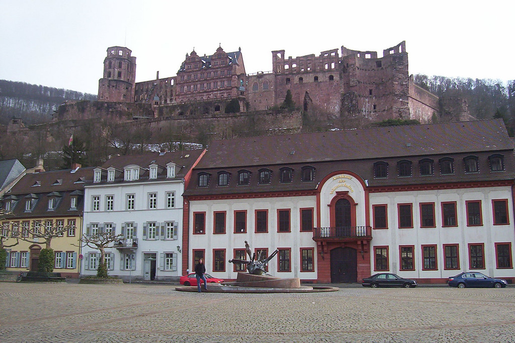 The Heidelberg castle above one of the many platz in old town.