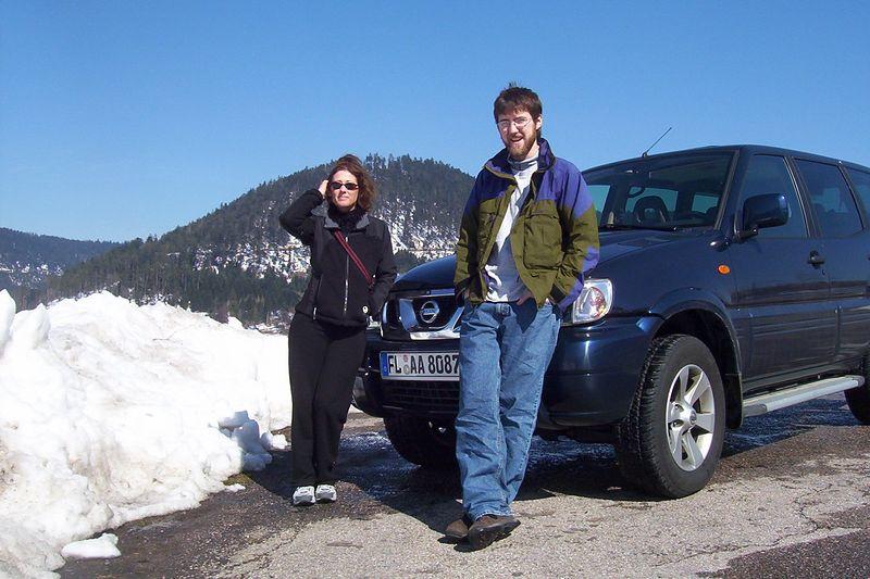 Sue and Derek halfway between Colmar and Paris. Surprising amount of snow.