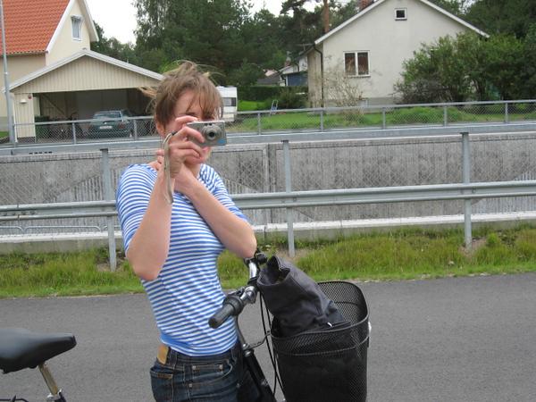 Eva's cousin Sara taking a picture of Eva