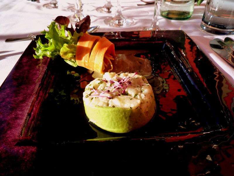 The first course was Tatar of Jacob's mussels with a Basil cream mousse.