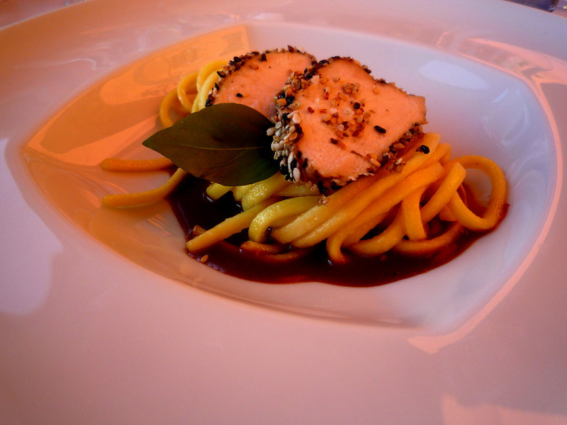 Followed by lemon tagliatelle in a red curry sauce with a sesame crusted Poulard.