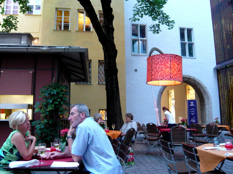 Since the weather was so nice we ate in their wine garden. Notice the cool, giant floor lamp to the right.