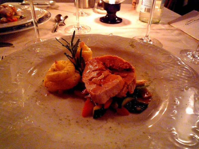 Our main course was fillet of Turkey breast filled with red pepper filling, steamed veggies and creamy mashed potatoes