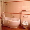 The bath had a jacuzzi tub and Bvlgari bath products.