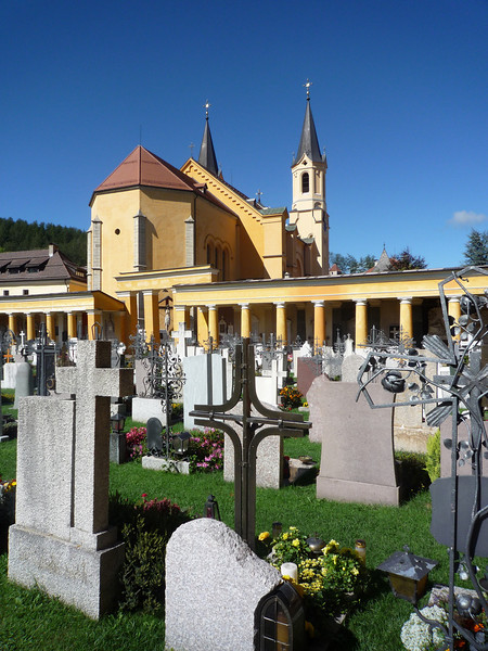 View of a graveyard and church, we passed on the way into town.