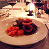 As a main course, we had beef goulash with a bread dumpling, steamed carrots and crispy fried onion rings.