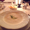This was a fennel cream soup served with small smoked salmon tramezzino (triangles).
