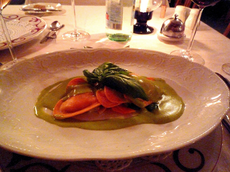 Then it was back to our hotel for Saturday evening dinner...we started with homemade past filled with  buffalo mozzarella and tomatoes then served in a basil cream.