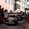 There was an old car rally that had gathered to drive through the old town.