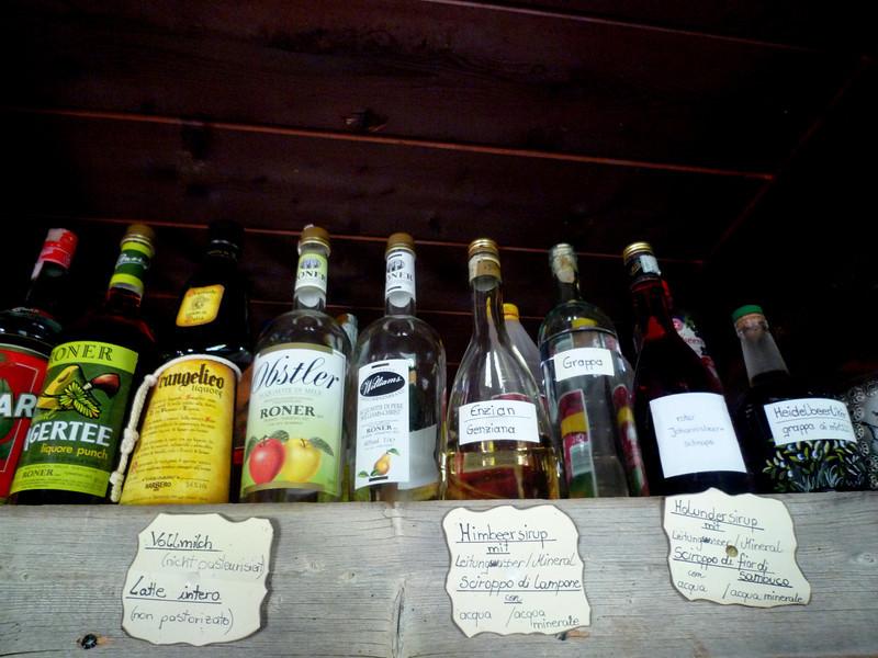 Various schnapps, grappa and liquors.