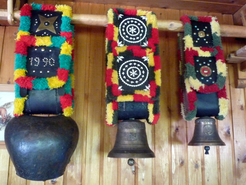 These are cowbells used to help keep track of the herds that go to the top of the mountain to graze during the summer months.