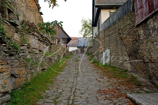 Cobblestone Street in Opocno, Czech Republic