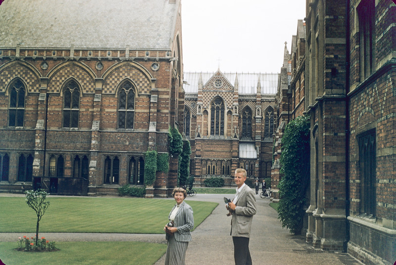 Charles Anderson and Marilyn Knight of another tour, Magdalen College, Oxford