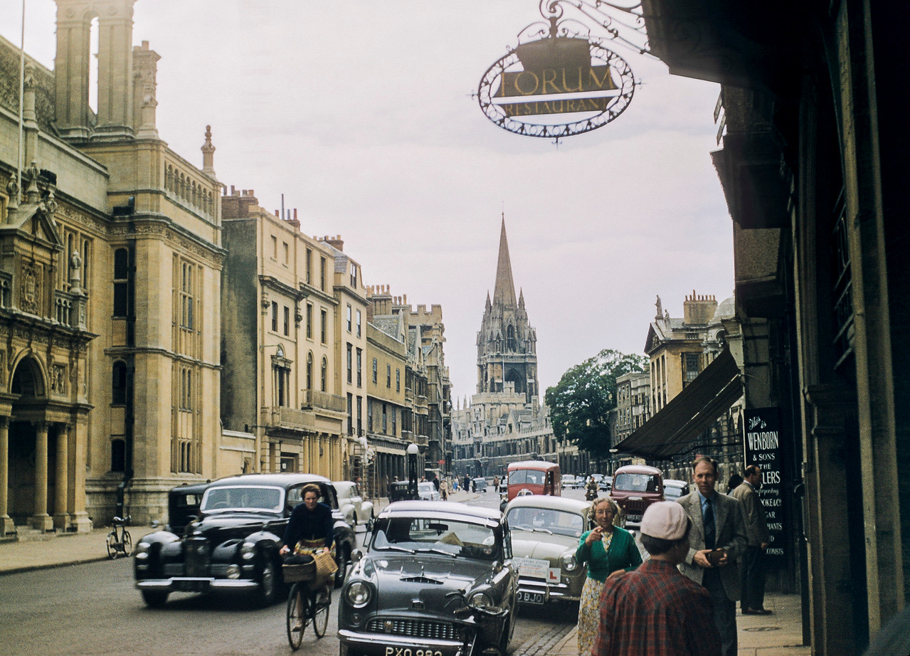 An Oxford street, looking towards All Souls College and the Church of St. Mary the Virgin