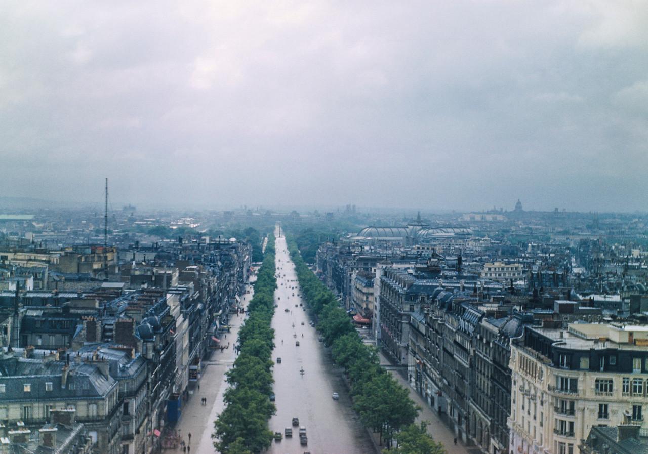 The Avenue des Champs-Élysées from the top of the Arc de Triomphe
