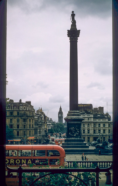 Nelson Monument, Trafalgar Square, Big Ben in the distance.