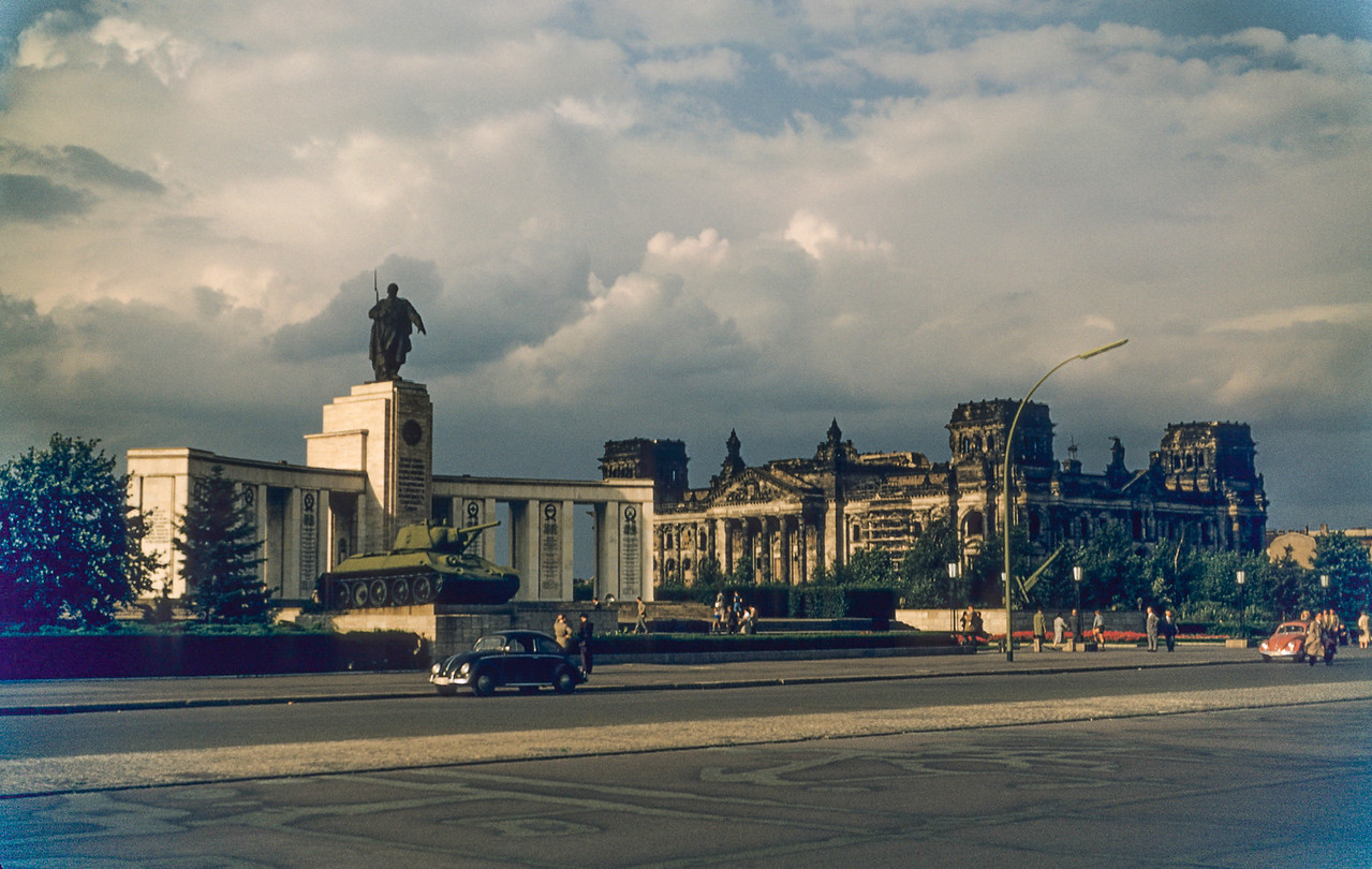 Monument for the Russian dead in WWII, and the burned out Reichstag.
