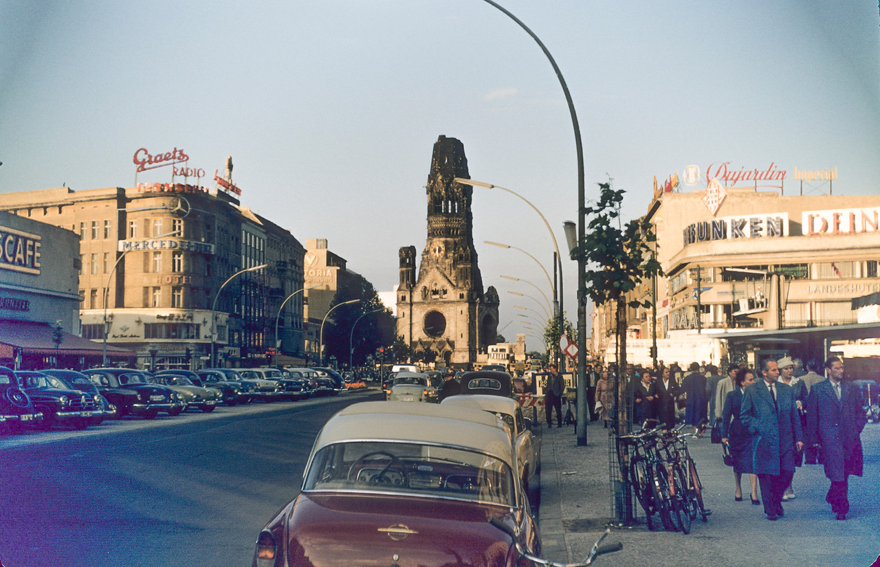 Kaiser Wilhelm Memorial Church damaged in an air raid in WWII
