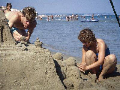 Tom & Romi's elaborate sand castle on the beach, just a block from our apartment.