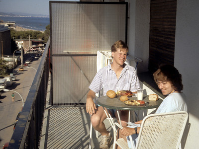 Tom & Romi, breakfast overlooking the Mediterranean on the balcony of the apartment we rented in Torredembarra, Spain. Tom was then the same age as their daughter Lori is now!