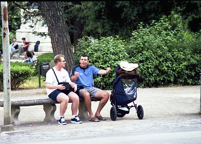 Two Kiwis doing their best impression of elderly Italians on a park bench