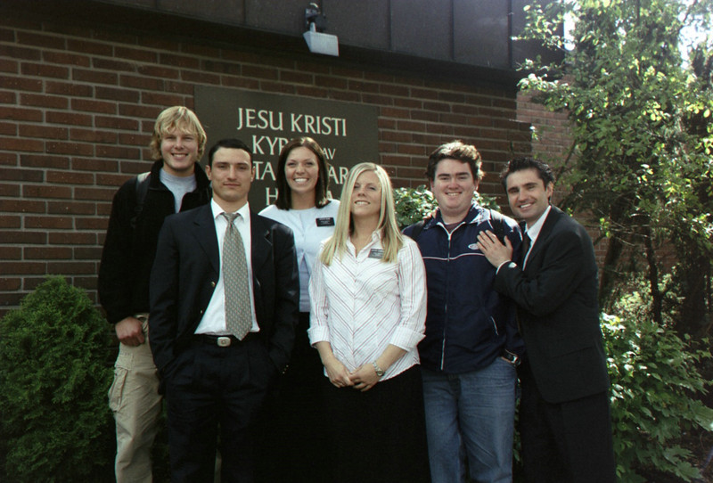 At church with Oleg.  (Weston, Vadim, Sister Missionaries, Me, Oleg)