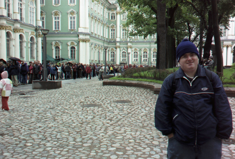 The line to get into the Hermitage Museum (Winter Palace) in St. Petersburg.