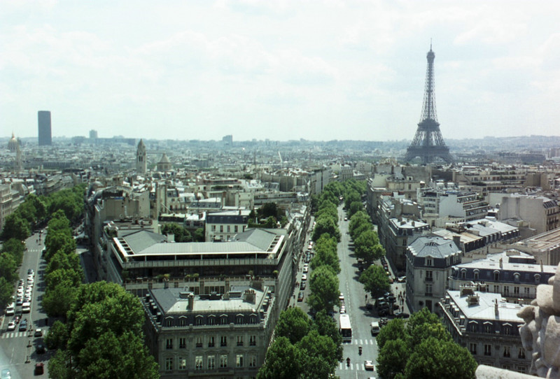 View of the Eiffel Tower from atop the Arc.
