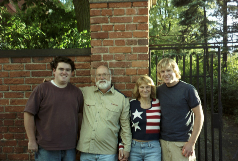 Me, Art, Nancy, and Weston in front of their house in Malmo.
