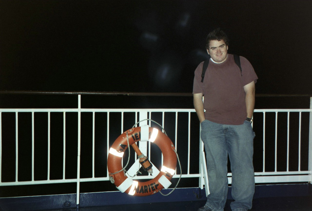 On the freezing deck of the boat in the middle of the Baltic Sea.