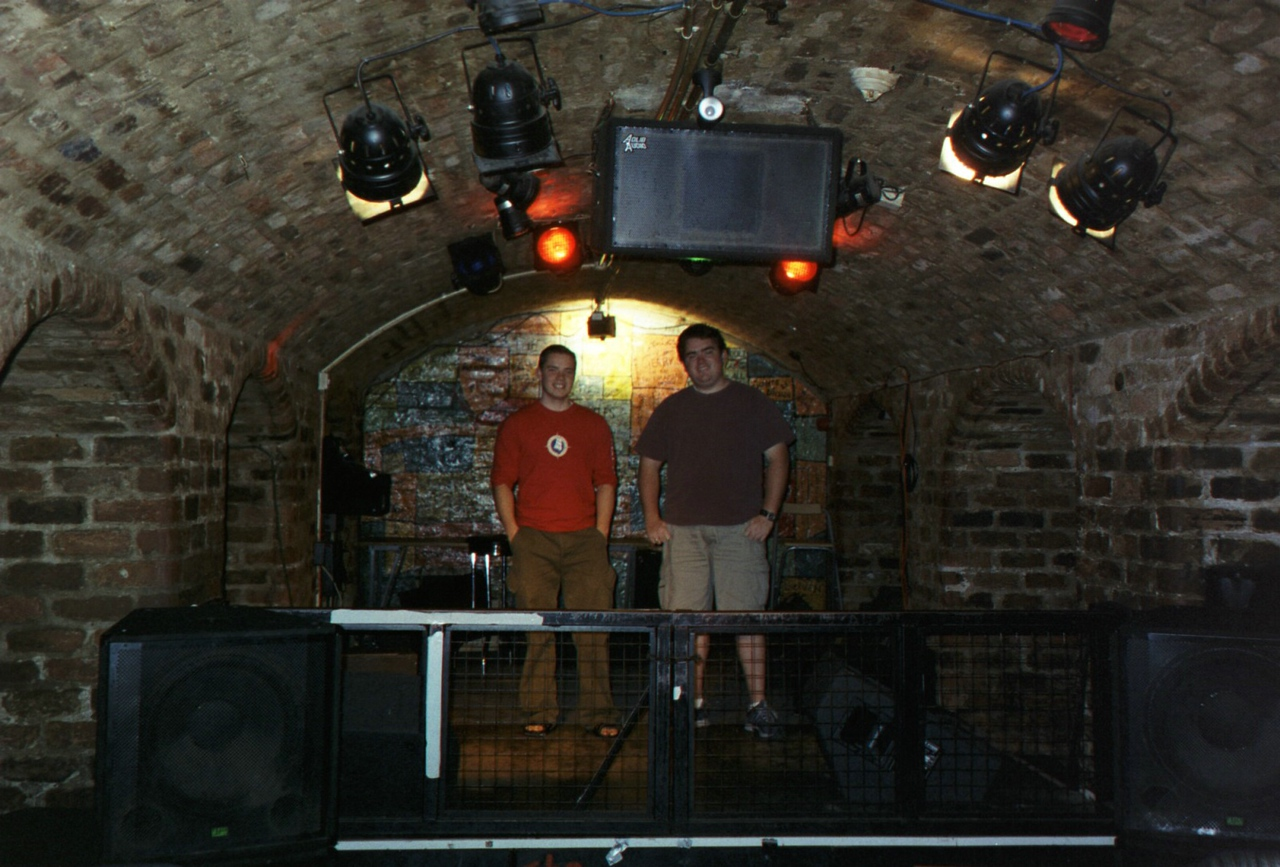 David Turner and I on the Beatles' first stage.  The Cavern pub in Liverpool.