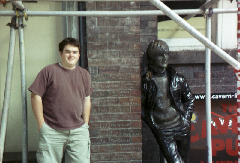 John Lennon and I outside the cavern.