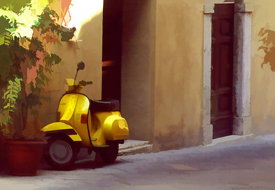 Scooter in Pienza