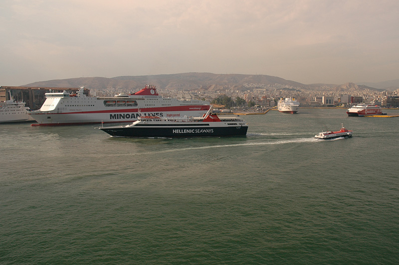 Piraeus is one busy port, with an amazing number of ferries headed to the Greek Isles.