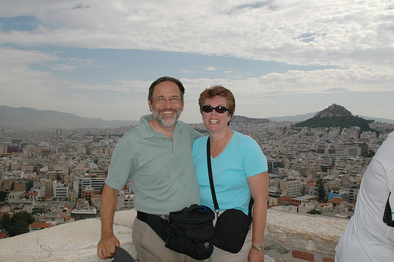 Overlooking Athens, with Lycabettus Hill in the background.