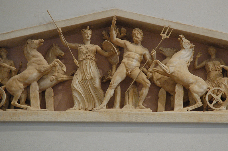 These are replicas of the Parthenon Marbles.  Unfortunately, the real ones are in London, acquired under dubious circumstances while the Turks occupied Greece.