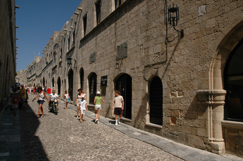 "Street of the Knights (<a href=""http://www.olivegardenhouses.com/rhodes-knights.html"">More info on the Knights of St. John</a>)"