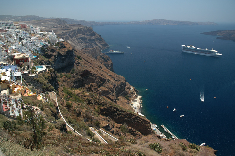 Looking down on the Grand Princess from the town of Fira.