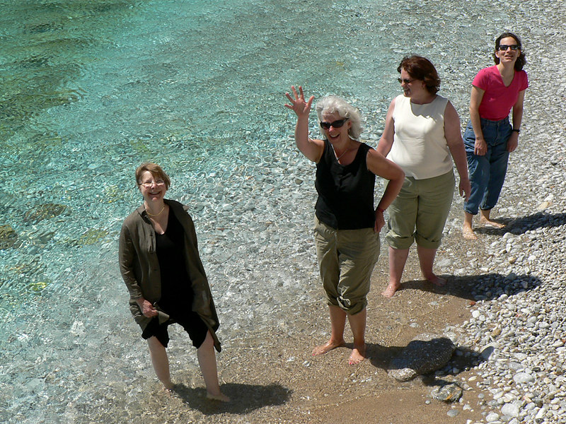 Mia, Marie, Pauline and Kate cooling their feet at Gerolimenas