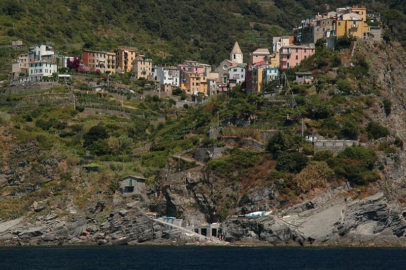 Village of Corniglia; photo taken from the boat shuttle.