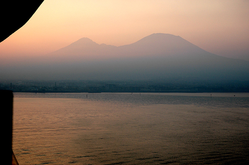 Sunrise look at Vesuvius, coming into Naples.