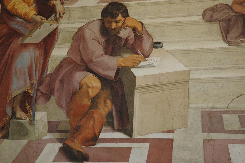 Heraclitus (looking like Michelangelo).
