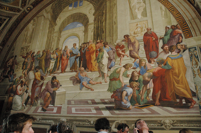 "The amazing Raphael fresco, The School of Athens.  (<a href=""http://www.newbanner.com/AboutPic/SOA.html"">More info</a>)"