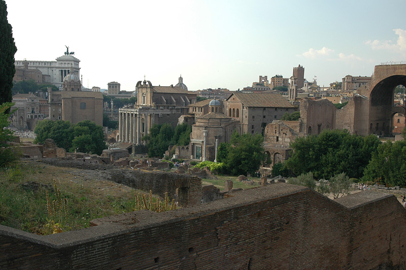 Coming off Palatine Hill into the Forum.  Capitoline Hill in the distance.