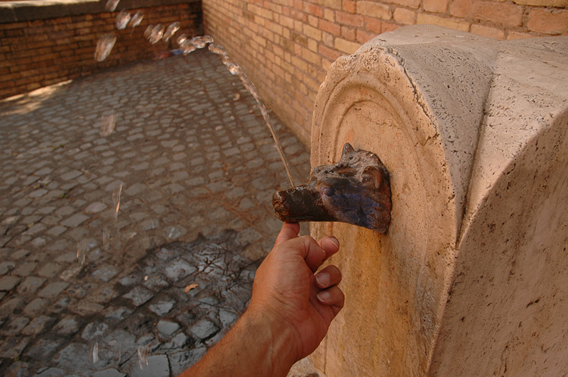 Constantly running drinking facets are all over Rome.  Plug the hole and it becomes a fountain.