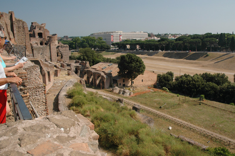 Looking from Palatine Hill down on the Circus Maximus.
