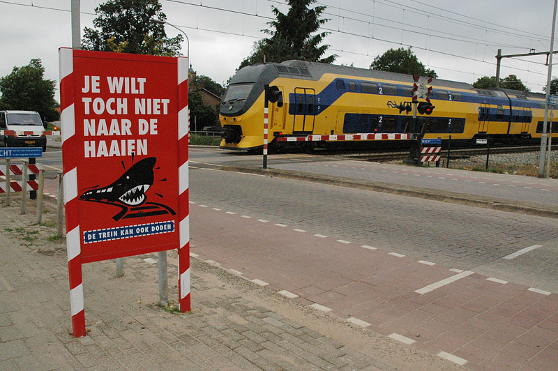 Translation:  Don't want to go to the sharks, do you?  Trains can kill.